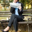 Businesswoman in park on break — Foto Stock
