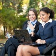 Business working in park — Stock Photo #8367004