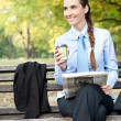 Business break in  park — Stock Photo