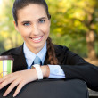 Cafe break- businesswoman with cup of coffee - Stock Photo