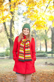 Portrait of girl in autumn clothes — Stock Photo