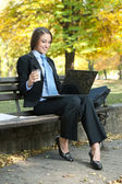 Smiling woman looking in laptop — Stock Photo