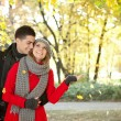 Couple enjoying the falling leaves — Stock Photo