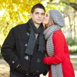 Girlfriend kissing her boyfriend — Stockfoto