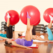 Stock Photo: Exercising with fitness ball