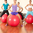Fitness exercises with ball — Stock Photo