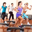 Stock Photo: Step aerobics with dumbbells