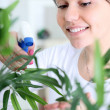 Young smiling woman spraying flowers — Stock Photo #9775305