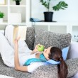 Girl relaxing at home — Stok fotoğraf