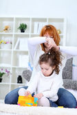 Hairstyle, mother and daughter — Stock Photo