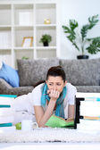 Student girl tired of studying — Stock Photo