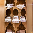 Wooden shelve with  towels — Foto Stock
