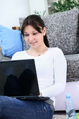 Girl on the computer — Stock Photo