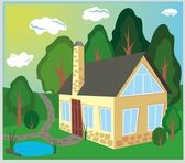 Old house in the wood — Stock Vector
