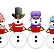 Stock Photo: Snowman Carolers Singing Christmas Songs Illustration