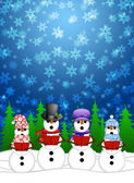 Snowman Carolers Singing with Winter Snowing Scene Illustration — Stock Photo