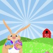 Happy Easter Bunny on Green Pasture — Stock Photo
