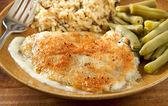 Tilapia parmesan meal — Stock Photo