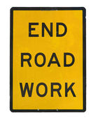 Old end roadwork traffic sign — Stock Photo