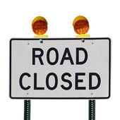 Silnice uzavřena znamení proti Bílému pozadí — Stock fotografie