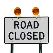 Road closed sign against a white background — Stock Photo