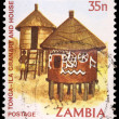 A 35-ngwee stamp printed in Zambia - Stock Photo