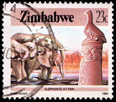 A 23-cent stamp printed in Zimbabwe — Stock Photo