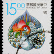 A 15-dollar stamp printed in Taiwan — Stock Photo