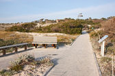 Walkway, dunes and buildings at Asilomar State Park and Conferen — Stock fotografie