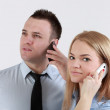 Couple on the phone — Stock Photo