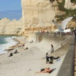 A gull flying over the beach on La Falaise de Amont — Stock Photo