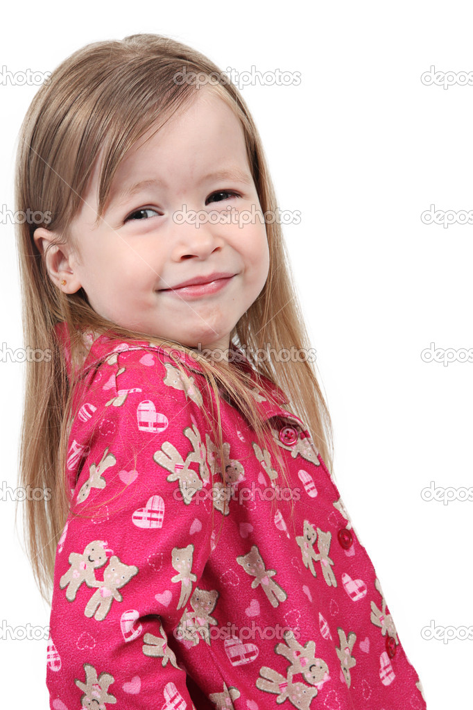 Adorable little girl isolated on white background — Stock Photo #8998453