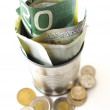 Canadian Money In a Tin Can — Stock Photo
