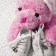 Baby Shoes and Teddy — Stock Photo