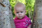 Baby Girl posing in a tree — Stock Photo