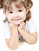 Adorable little girl isolated on white background — Stock Photo