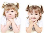 Adorable little sisters isolated on white background — Stock Photo