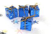 Regalitos de navidad azul — Foto de Stock