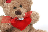 Valetines Teddy Bear with Ring — Stock Photo