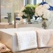 Modern style bathroom design with hand wash basin and other deco — Stock Photo