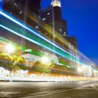 Nightscape Downtown  with  headlights trails — Stock Photo