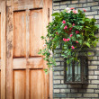 House decoration - Hanging houseplant basket and old style lamp — Stock Photo