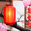Red lantern hang on the roof — Stock Photo