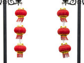 Two groups of Chinese red lantern hanging on lamppost — Zdjęcie stockowe