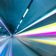 Abstract speed motion in urban highway road tunnel, blurred moti — Stock Photo