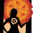 Silhouette of the girl with a symbol on an abstract background - Stok Vektr