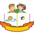 Stock Vector: Children on big book