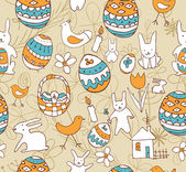 Easter Child Scribbles Seamless Background — Stock Vector