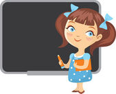 Girl school blackboard isolated — Stock Vector