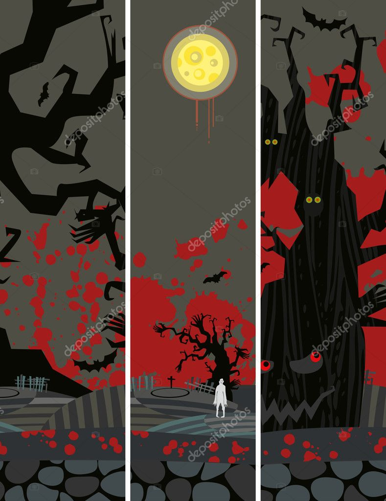 Halloween  grunge banners set  — Stock Vector #9410586